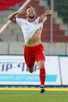 Ein wichtiger, wenn nicht der wichtigste Moment im Trikot des FSV Zwickau: Mike Könnecke erzielte in der Vorsaison das 2:1-Siegtor gegen den Chemnitzer FC, was letztlich die Voraussetzung für den Klassenerhalt war.
