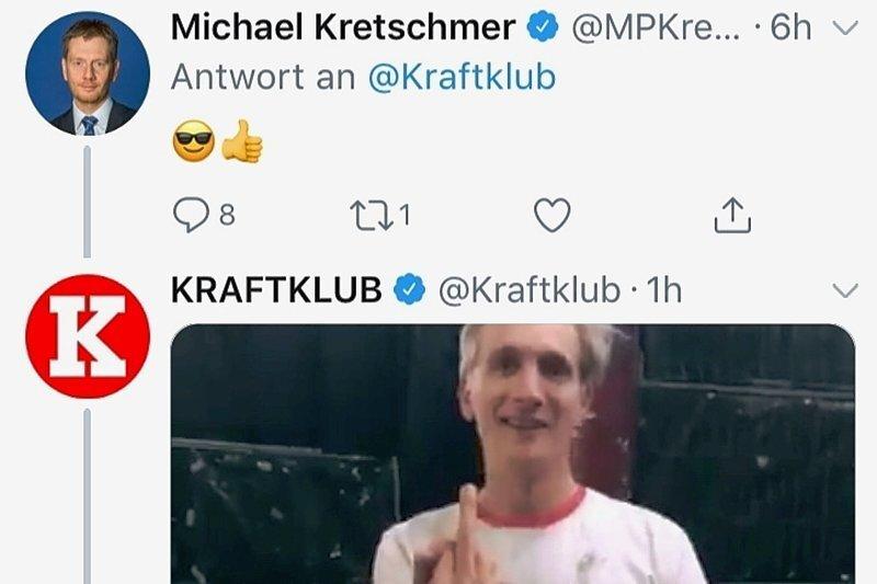 Ende der Debatte: Kraftklub-Sänger Felix Brummer zeigt Ministerpräsident Michael Kretschmer den Mittelfinger.