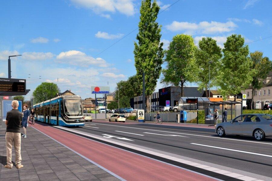 Nächster Halt: Bahnhof Siegmar. So könnte es in zehn Jahren an der Zwickauer Straße aussehen, sollte die Linie 1 wie vom Aufsichtsrat der CVAG befürwortet bis nach Reichenbrand verlängert werden.