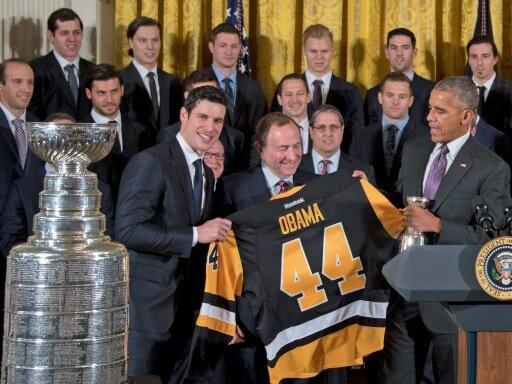 Barack Obama empfängt die Penguins im Weißen Haus