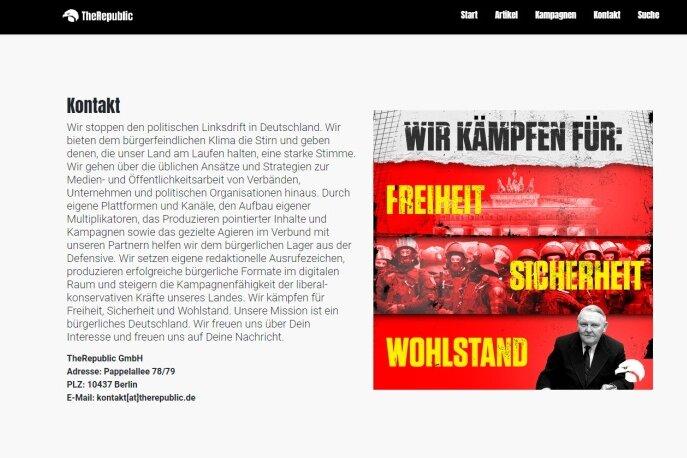 """Bildschirmaufnahme von der Internetseite """"TheRepublic""""."""