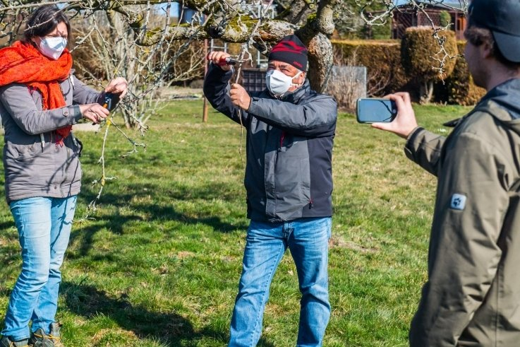 So wird's gemacht: Mandy und Claus Gauser zeigen, wie Obstbaumschnitt funktioniert. Renaldo Claus (rechts) hat es gefilmt.