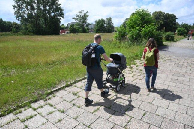 Auf dieser Grünfläche an der Carl-von-Ossietzky-Straße in der Nähe des Gablenz-Centers soll der Bürgerpark Gablenz entstehen. Baubeginn könnte im nächsten Jahr sein, heißt es von der Bürgerplattform Mitte-Ost.
