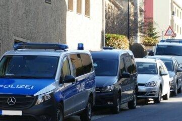 Polizei-Großaufgebot am Mittwochmorgen an der Freiberger Straße.