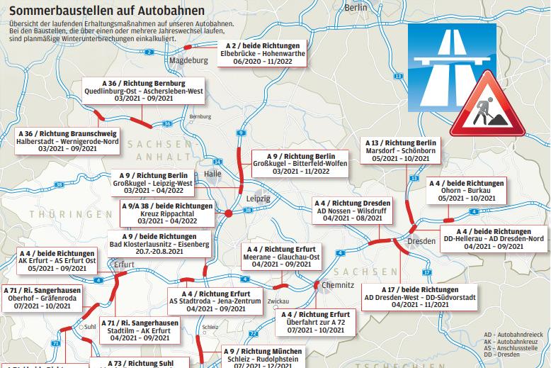 Baustellensommer in Mitteldeutschland: An diesen Autobahn-Abschnitten droht Stau