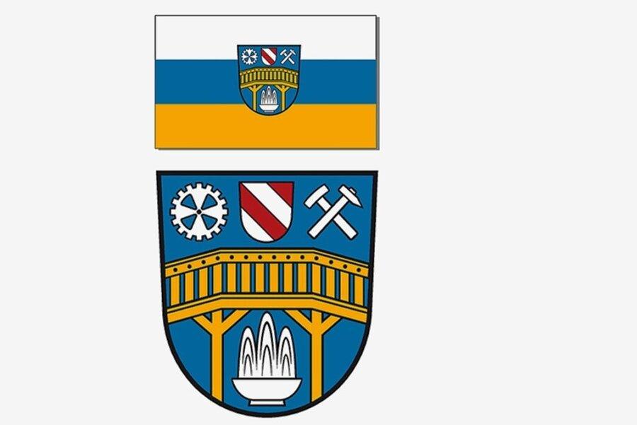 Die neue Fahne (oben) und das neue Wappen.