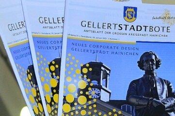 Hainichens Oberbürgermeister Dieter Greysinger freut sich über das neue Design, das nun erstmals im Amtsblatt zu sehen sein wird. Auch Briefbögen und Präsentationen werden künftig diese Gestaltung haben.