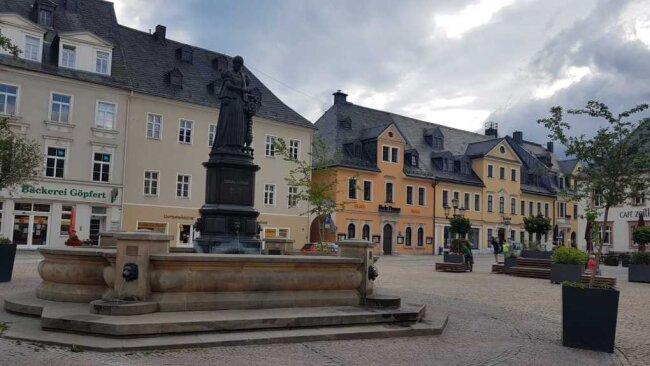 Blick auf die Lokalredaktion am Markt von Annaberg-Buchholz.