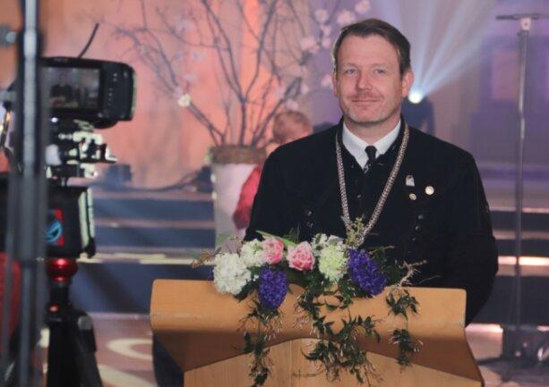 Kameras statt Gäste: Die Festansprache des Freiberger Oberbürgermeisters zum Neujahrsempfang ist am 11. März in der Nikolaikirche aufgezeichnet worden. Dieser und weitere Beiträge sind seit Freitagabend als Online-Empfang über die Internetseite der Stadt unter www.freiberg.de abrufbar.