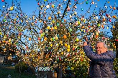 Zeichen der Hoffnung: Jürgen Langner hat 2020 Ostereier im Apfelbaum platziert.