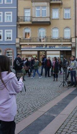 Zur Mutmach-Kundgebung auf dem Markt in Mittweida erklang auch Musik.