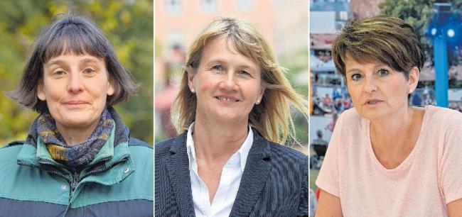 Drei Frauen an der Spitze städtischer Einrichtungen, Gesellschaften und Ämter: Tierpark-Chefin Anja Dube, GGG-Geschäftsführerin Simone Kalew und Cornelia Utech, Leiterin des Sozialamts und zuletzt eine der Managerinnen der Coronapandemie in Chemnitz (von links).