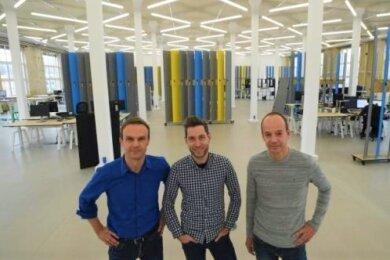 Frank Wolf, Martin Böhringer und Lutz Gerlach (von links): Die Gründer im Hauptquartier
