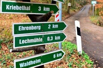 Der derzeitige Weg von der Lochmühle zur Anlegestelle Erlebach.