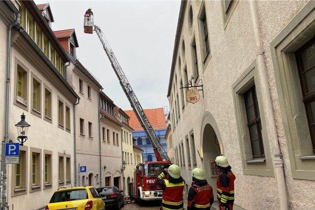 Die Feuerwehrübung in der Freiberger Innenstadt sorgte für einiges Aufsehen.