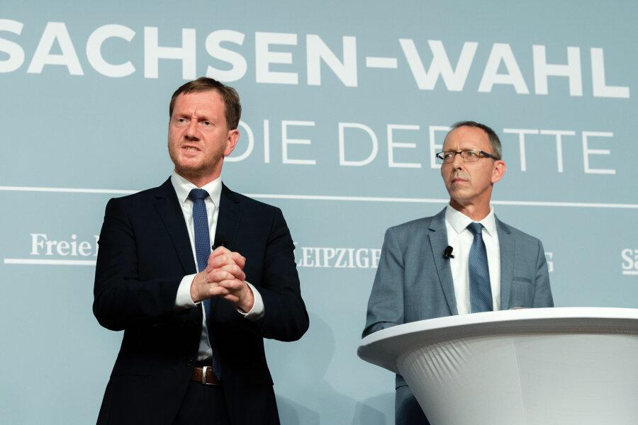 Michael Kretschmer und Jörg Urban (AfD) bei der Wahldebatte im Vorfeld der Landtagswahl 2019.
