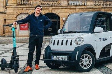 Elektrovans der Firma Ari Motors aus Borna werden von Tier Mobility in Chemnitz zur Wartung der E-Scooter eingesetzt.