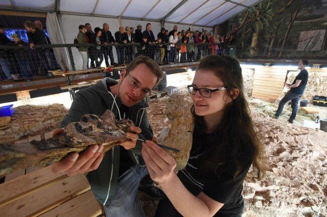 In der Ausgrabungsstelle auf dem Sonnenberg gab es für Steffen Trümper (links) und Linda Weiß (rechts) viel zu entdecken und zu bestaunen.