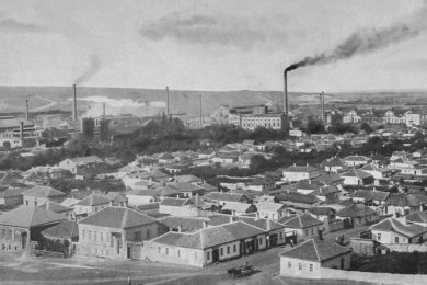 Blick über Lugansk mit Hartmann-Werk, etwa 1905.