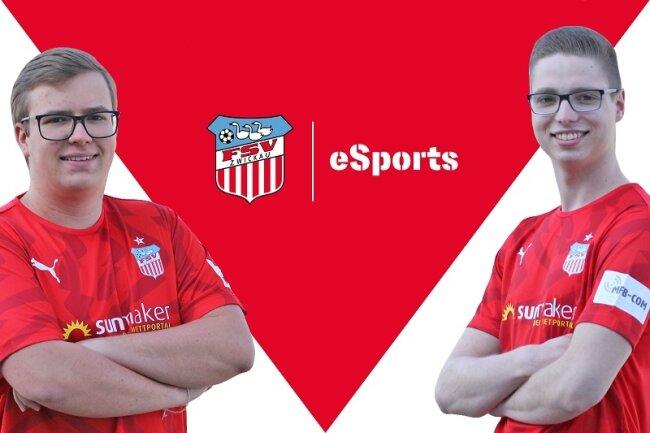 Sascha Hendel (l.) und Marcel Gramann bilden das neue FIFA-Team des FSV Zwickau.