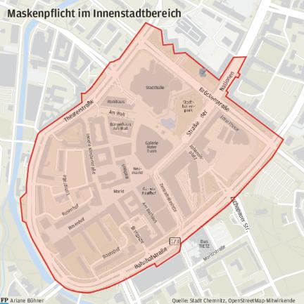 In dem markierten Bereich gilt ab sofort eine Maskenpflicht von Montag bis Samstag zwischen 6 und 22 Uhr.