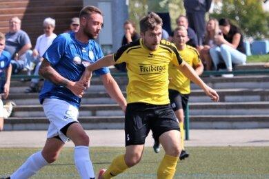 Fokussiert: Die Fußballer des BSC um Sebastian Krause (r.) kämpfen am Sonnabend bei Fortuna Chemnitz um den Einzug ins Achtelfinale des Sachsenpokals. In Runde 2 besiegte Freiberg Wurzen mit 2:1.