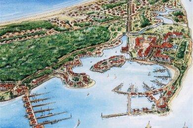 Die auf der Landzunge Bug im Nordwesten der Insel Rügen geplante Ferienanlage in einer Skizze.