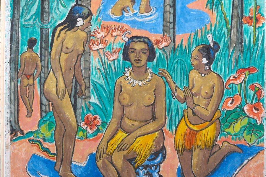 """Das Pechstein-Werk """"Drei Palauerinnen nach dem Bad"""" von 1949 wird am 7. November dem Max-Pechstein-Museum in Zwickau übergeben."""