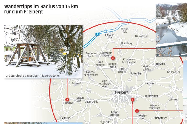 Interaktive Karte zeigt fünf Wanderrouten im Umkreis von 15 Kilometern von Freiberg