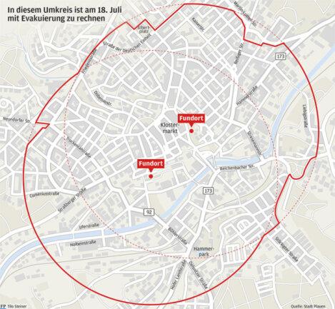 In diesem Umkreis ist am Samstag, 18. Juli, mit einer Evakuierung zu rechnen. Genaueres steht Samstagfrüh fest.