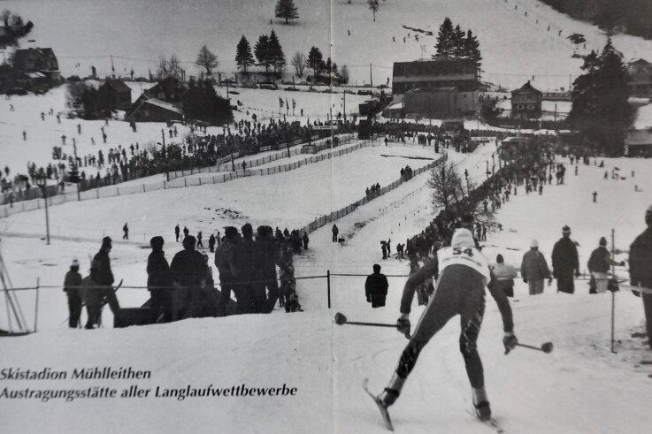 Damenskirennen in Mühlleithen - das ehemalige Skistadion am einstigenHotel Buschhaus.