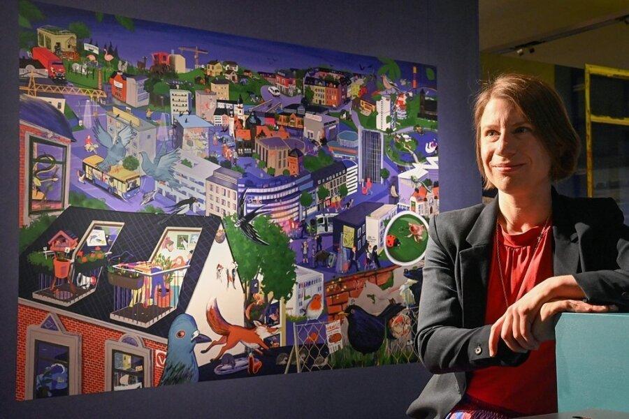 """Die Grafikerin Stephanie Brittnacher hat das Wimmelbild """"Tiere in der Stadt"""" für das Archäologiemuseum digital am Computer gezeichnet."""