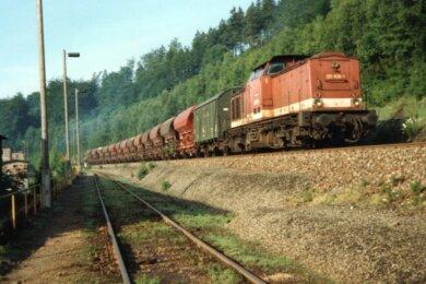 Das Foto zeigt die Gleistrasse bei Buchholz mit einem Güterzug. Ein solcher ist dort am 14. Mai 1981 auf dem unteren Gleis mit hoher Geschwindigkeit durchgerauscht.