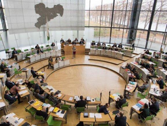 Blick in den Plenarsaal des Sächsischen Landtages.