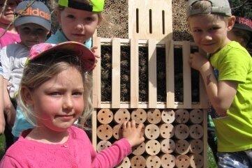 Marie (v. l.), Mia und Yannick sind begeistert vom Insektenhotel.
