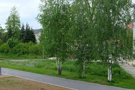 Im Lugauer Stadtpark ist noch offen, ob der Radweg über die Gleise oder den bereits gebauten parallelen Weg verläuft. Rechts: der ehemalige Bahnhof.