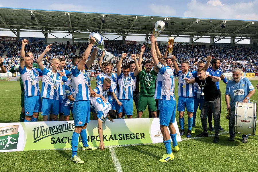 Jubel über den Pokalsieg: Der CFC hat den FSV Zwickau am Samstag 2:0 besiegt.