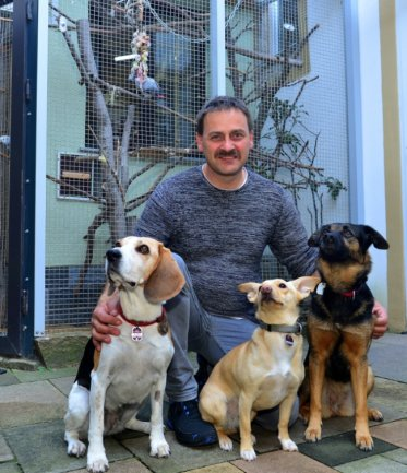 Mike Sonntag, hier mit seinen Hunden Chita, Lulu und Bella (v. l.), leitet nun den Tierschutzverein in Frankenberg.