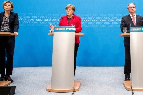 Gemeinsame Wahlanalyse: CDU-Chefin und Kanzlerin Angela Merkel (2. v. l.) versucht in Berlin gemeinsam mit den Spitzenkandidaten der Landtagswahlen Guido Wolf (Baden-Württemberg,r.), Julia Klöckner (Rheinland-Pfalz, l.) und Reiner Haseloff (Sachsen-Anhalt, 2. v. r.), den Ursachen für die Stimmenverluste der CDU auf den Grund zu gehen.