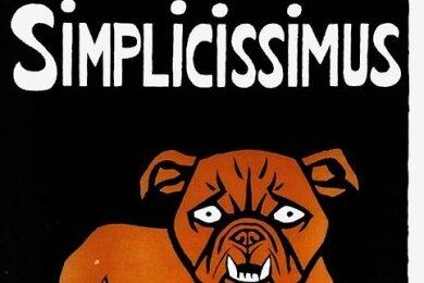 """Symbol der Zeitschrift """"Simplicissimus"""": die rote Bulldogge."""