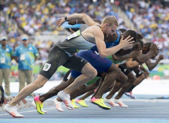 Das Foto zeigt Lucas Jakubczyk (vorn) beim Vorlauf der Olympischen Spiele 2016 in Rio de Janeiro.