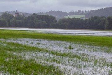 Die Elsterwiesen in Kürbitz sind geflutet.