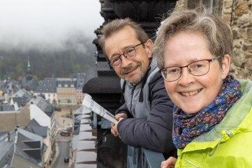 Marit und Matthias Melzer - die Türmerfamilie wohnt 42 Meter über der Erde und 668,45 Meter über dem Meeresspiegel.