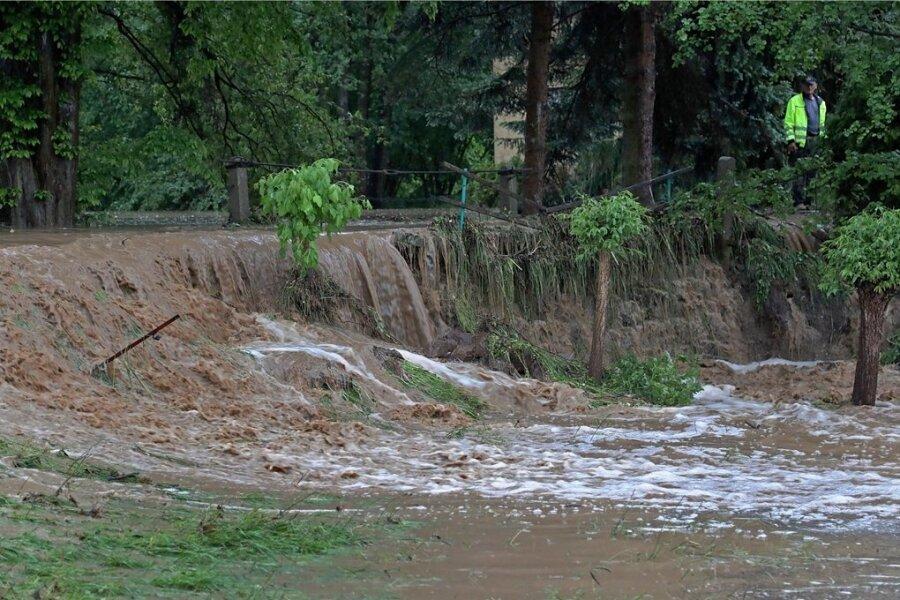 Am 5. Juni überschwemmten Sturzfluten zahlreiche Straßenzüge in Meerane.
