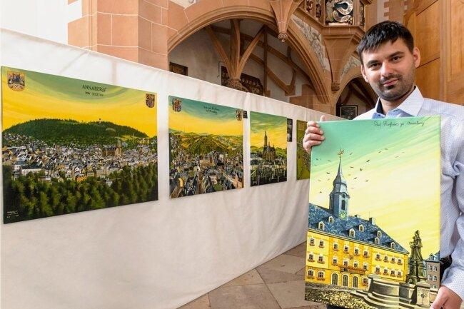 Eine Ausstellung mit Stadtansichten und anderen Werken von Nicki Lang ist bis Ende Oktober in der St. Annenkirche in Annaberg zu sehen.