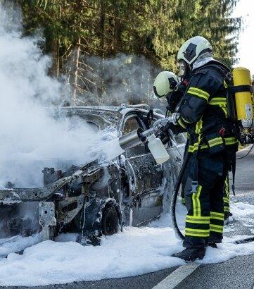 Beim Eintreffen der Feuerwehr stand der Renault bereits in hellen Flammen - zu retten gab es am Auto nichts mehr.