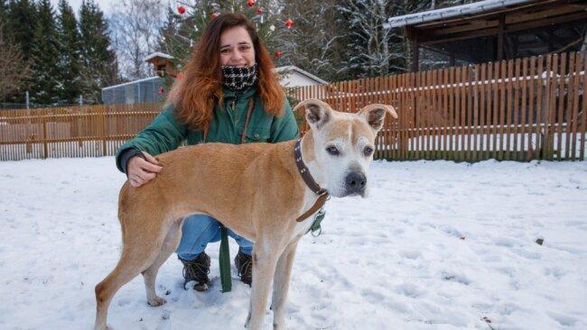 Nicht nur füttern: Lissi Burkhardt führt Hündin Kira aus. Das ist wichtig, denn Hunde wollen durchaus beschäftigt werden.