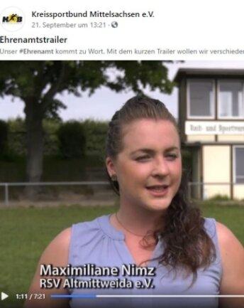 Maximiliane Nimz vom RSV Altmittweida stellte sich für den Ehrenamtstrailer des Kreissportbundes vor die Kamera.