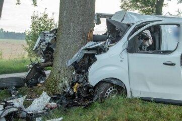 Die Front des Peugeot-Transporters wurde durch die Wucht des Zusammenpralls mit dem Baum regelrecht zerdrückt.