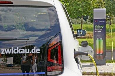 Die erste von mehr als 50 geplanten neuen Ladesäulen ist am Alten Gasometer in Zwickau eingeweiht worden.